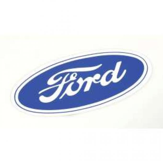 Ford Oval Decal - 6-1/2 Long - White Background - Self Adhesive