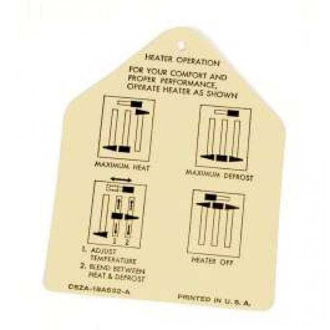 Heater Instruction Tag
