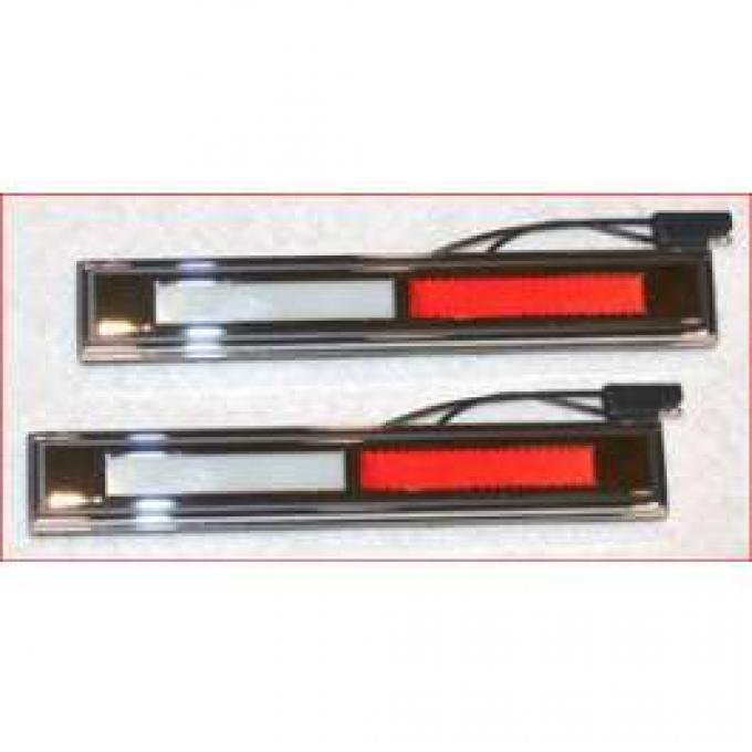 Door Courtesy Light Assembly - Chrome Bezel With White and Red Reflectors