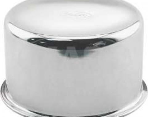 Oil Filler Cap - Push-On Type - Chrome - Reproduction with FoMoCo Logo