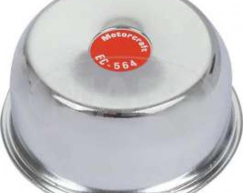 Oil Filler Breather Cap - Reproduction - With Straight Spout - Push-On Type - Chrome With FoMoCo Logo - 250 6 Cylinder Or 289 Or 302 V8