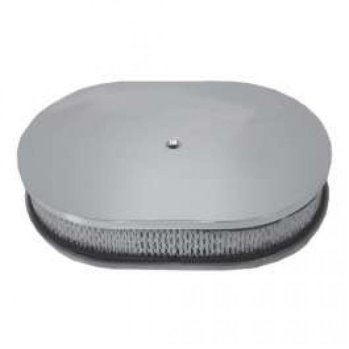 Ford Air Cleaner, Oval Smooth Polished Aluminum, 12