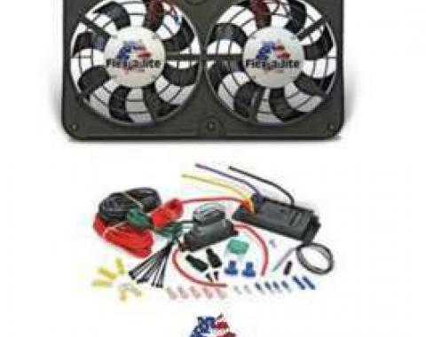 Ford Fan Kit, Dual Electric, Flex-A-Lite, 12, 500CFM