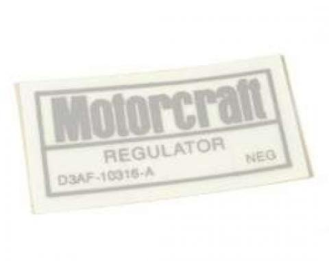 Decal - Voltage Regulator - For Cars Without Air Conditioning