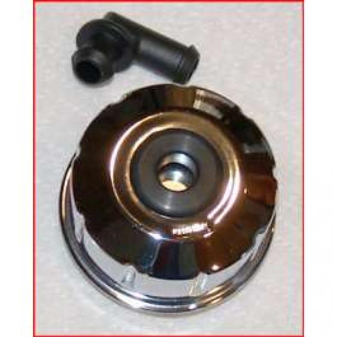 Oil Filler Breather Cap - Chrome - Opening in Top - Twist-type