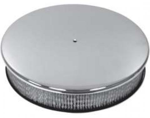 Ford Air Cleaner, Round Smooth Chrome Aluminum, 14 X 3