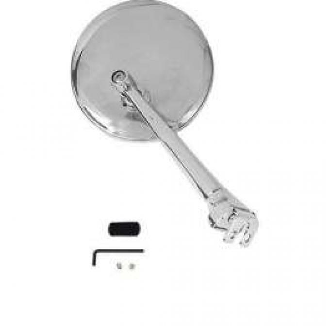 Universal Peep Mirror - Chrome Straight Arm - Right Or Left - 3 Diameter Stainless Steel Head