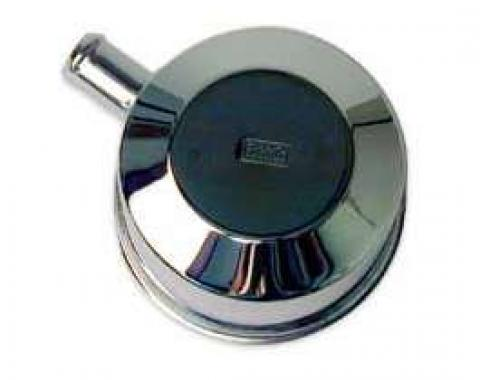 Oil Filler Breather Cap - With Spout -Chrome - Push-On Type - Reproduction With FoMoCo Stamping