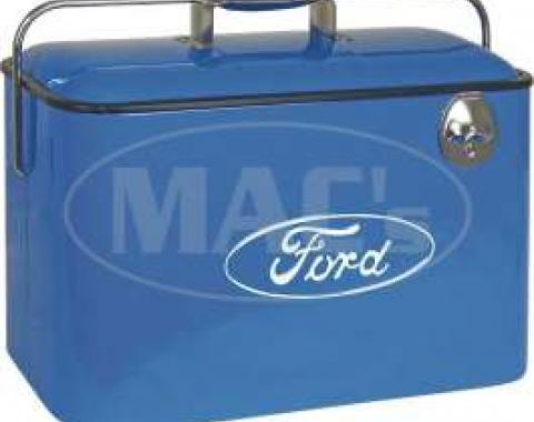 Vintage Ford Cooler - Blue With White Ford Logo - 18 x 8-3/4 x 12 Deep