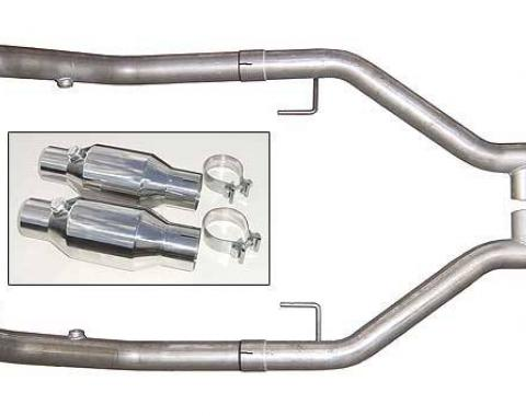 Pypes Exhaust H Pipe For Short Tube Headers Catted 2.5 in H-Pipe Hardware Incl Natural 409 Stainless Steel Exhaust HFM26