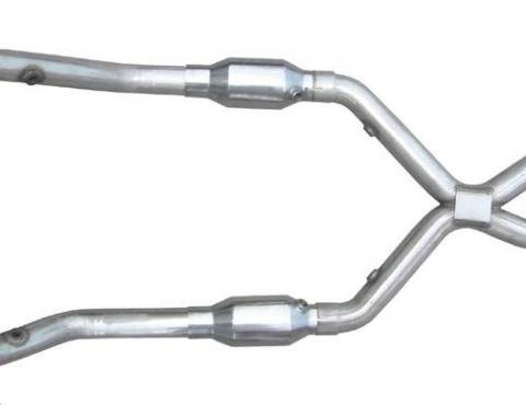 Pypes Exhaust X-Pipe Kit Intermediate Pipe 2.5 in w/Cats Hardware Incl Natural 304 Stainless Steel Exhaust XFM39