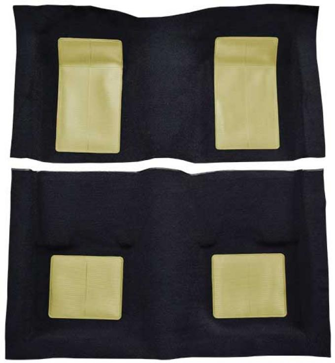 OER 1969 Mustang Mach 1 Passenger Area Nylon Floor Carpet - Black with Ivy Gold Inserts A4103A09