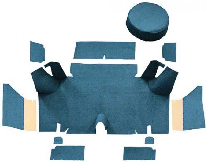 OER 1965-66 Mustang Fastback Loop Trunk Carpet Set with Boards - Medium Blue A4054A41