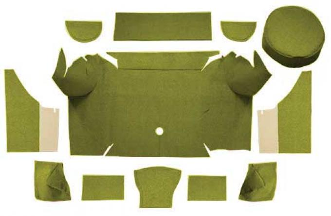 OER 1967-68 Mustang Convertible Nylon Loop Trunk Carpet Set with Boards - Moss Green A4079A19