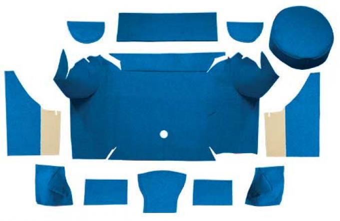 OER 1967-68 Mustang Convertible Nylon Loop Trunk Carpet Set with Boards - Medium Blue A4079A41