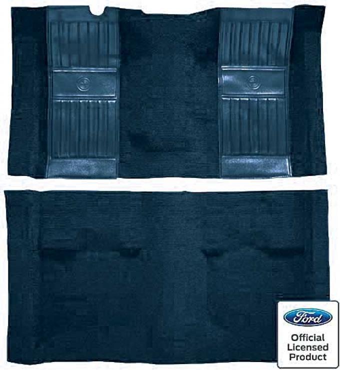 OER 1971-73 Mustang Mach 1 Passenger Area Nylon Floor Carpet - Dark Blue with Dark Blue Pony Inserts A4119A12