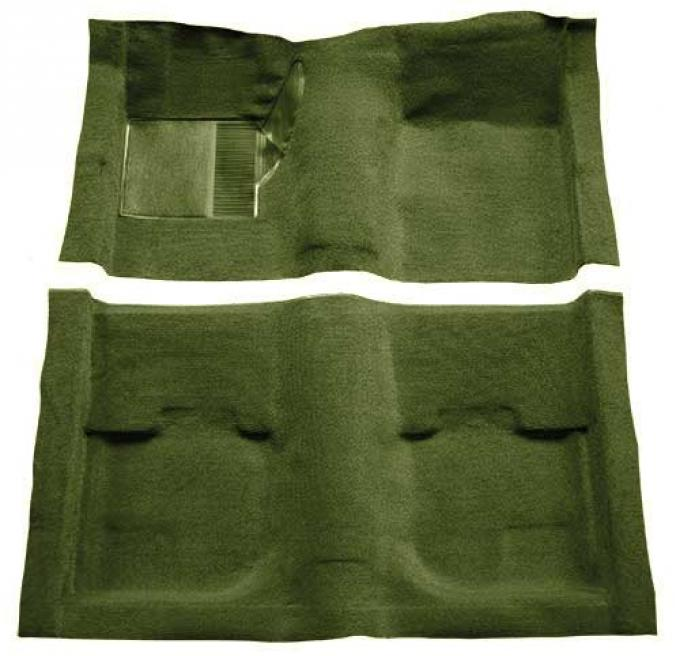 OER 1969-70 Mustang Fastback Passenger Area Nylon Loop Carpet without Fold Downs - Green A4051A39