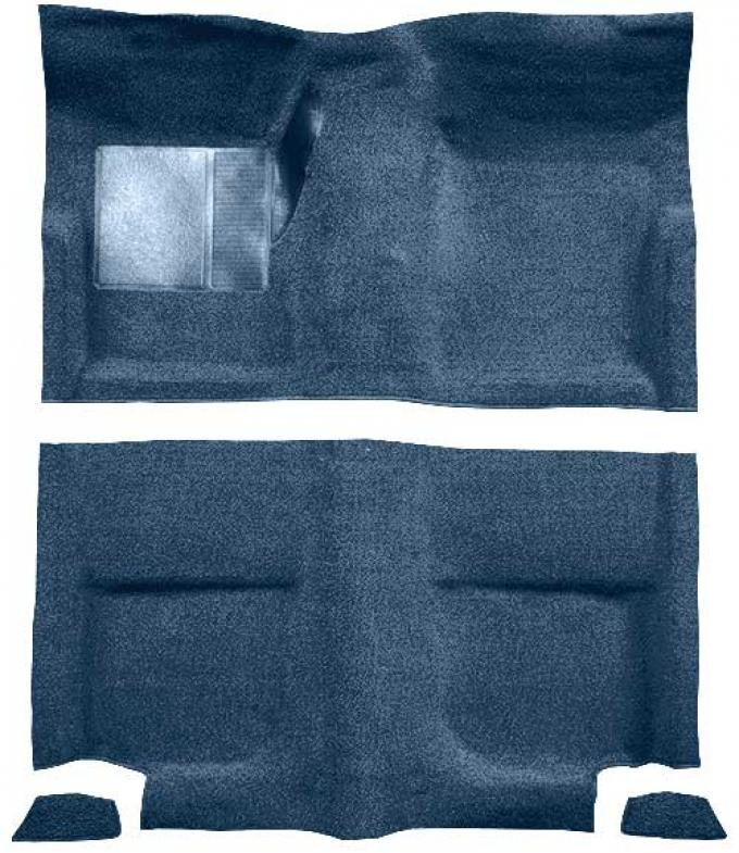 OER 1965-68 Mustang Fastback Loop Floor Carpet without Fold Downs, with Mass Backing - Ford Blue A4044B62