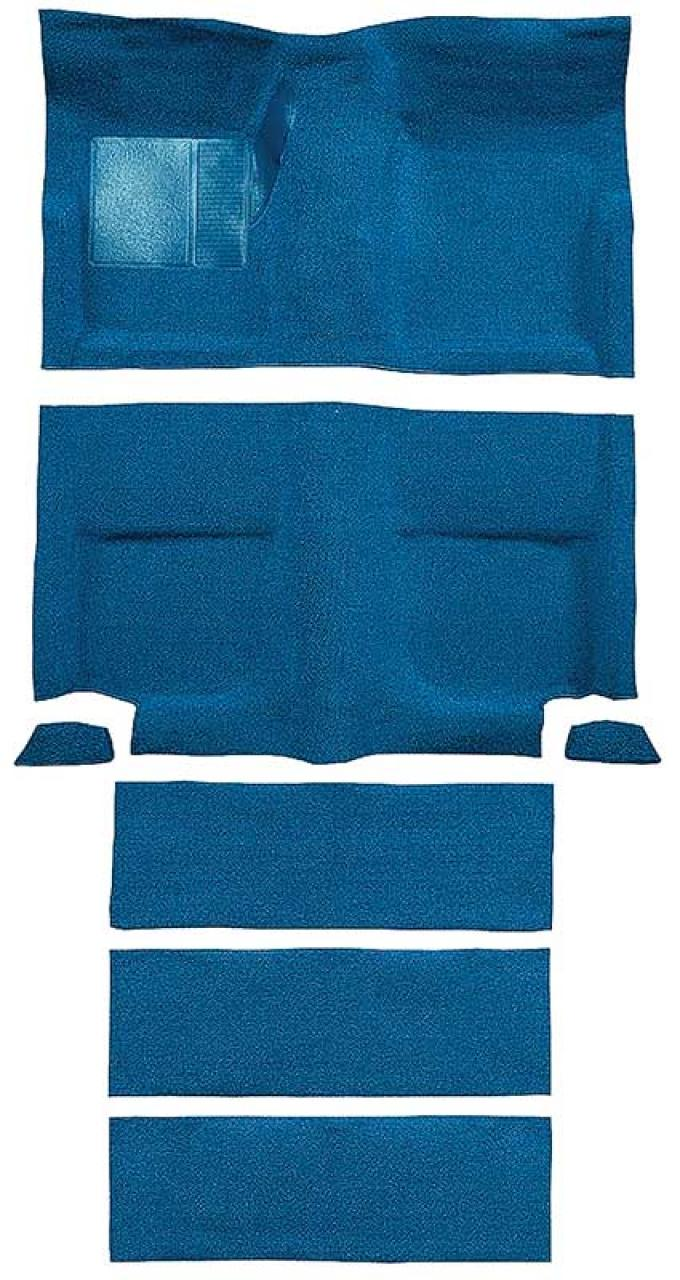 OER 1965-68 Mustang Fastback Nylon Floor Carpet with Fold Downs and Mass Backing - Medium Blue A4099B41