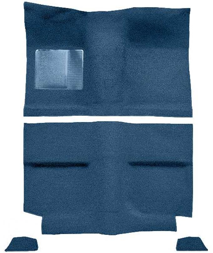 OER 1964 Mustang Fastback without Folddowns Passenger Area Loop Floor Carpet Set - Ford Blue A4034A62