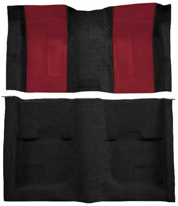 OER 1970 Mustang Mach 1 Passenger Area Nylon Floor Carpet - Black with Maroon Inserts A4109A15