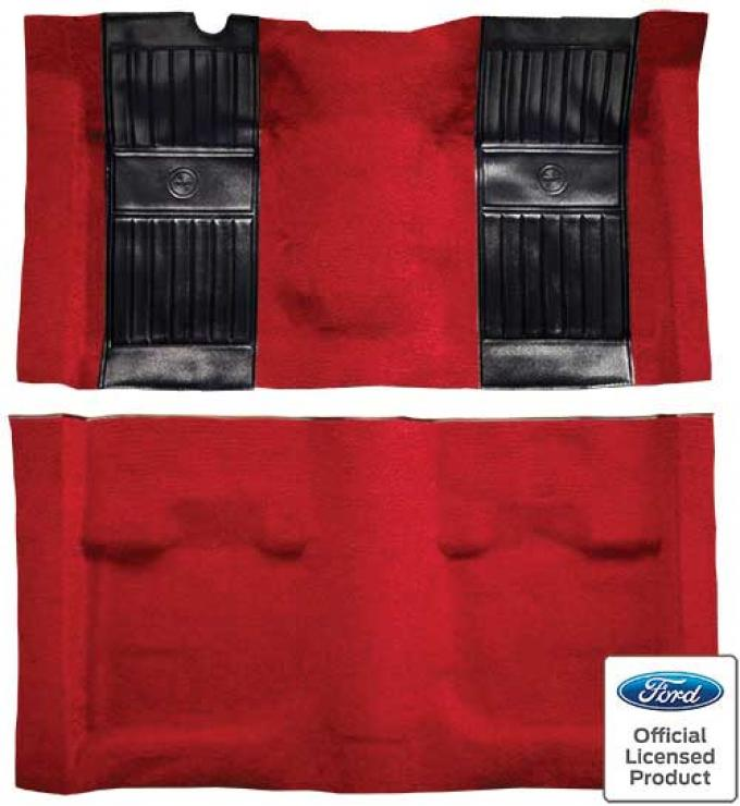 OER 1971-73 Mustang Mach 1 Nylon Floor Carpet with Mass Backing - Medium Red with Black Pony Inserts A4115B92