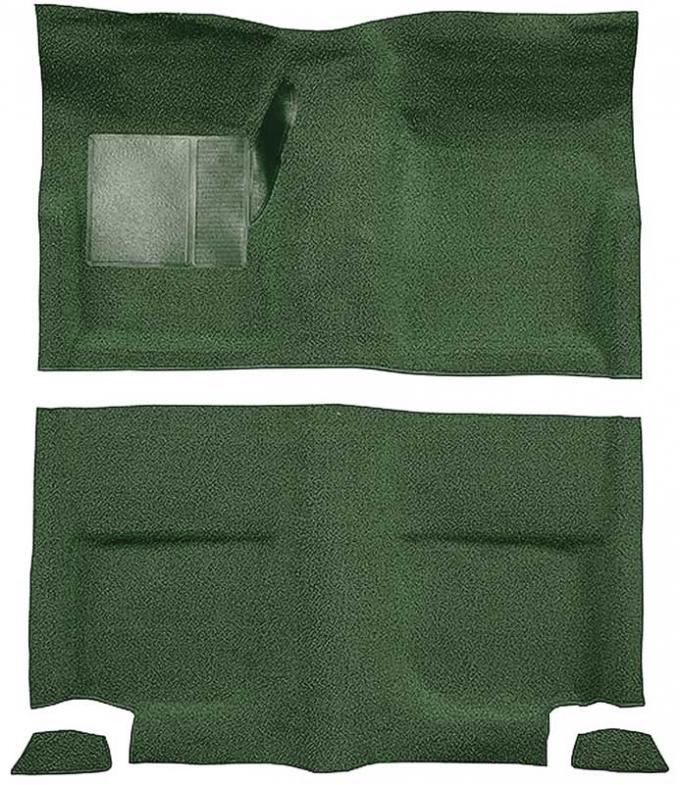OER 1965-68 Mustang Fastback Nylon Loop Floor Carpet without Fold Downs, with Mass Backing - Moss Green A4049B19