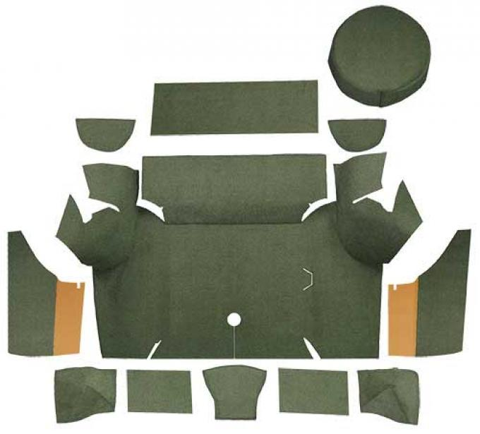 OER 1967-68 Mustang Coupe Loop Trunk Carpet Set with Boards - Moss Green A4058A19