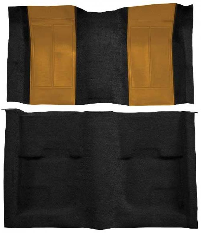 OER 1970 Mustang Mach 1 Nylon Floor Carpet with Mass Backing - Black with Medium Saddle Inserts A4109B69