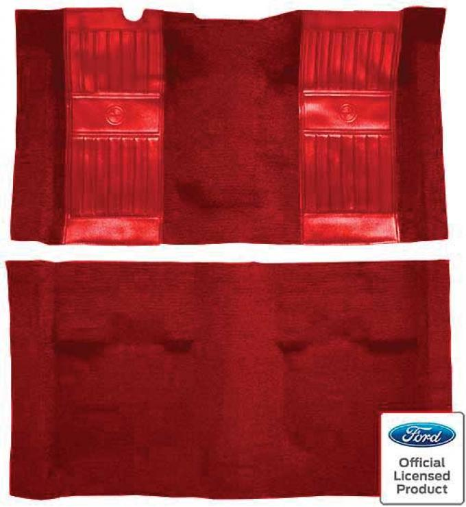 OER 1971-73 Mustang Mach 1 Nylon Floor Carpet with Mass Backing - Medium Red with Red Pony Inserts A4119B02