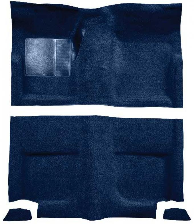 OER 1965-68 Mustang Fastback Passenger Area Loop Floor Carpet Set without Fold Downs - Dark Blue A4044A12