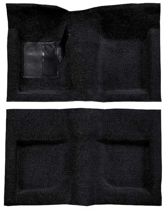 OER 1965-68 Mustang Convertible Passenger Area Nylon Loop Carpet Set with Mass Backing - Black A4047B01