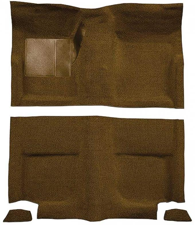 OER 1965-68 Mustang Fastback Passenger Area Nylon Loop Floor Carpet without Fold Downs - Saddle A4049A24