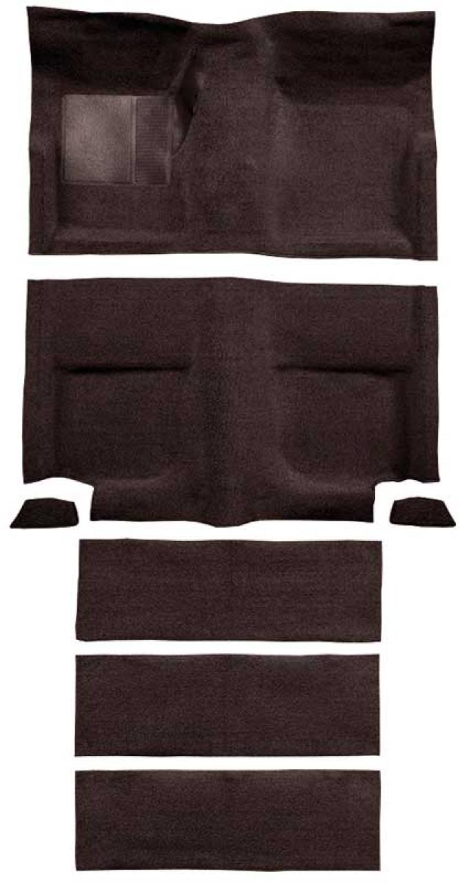 OER 1965-68 Mustang Fastback Passenger Area Loop Carpet with Fold Downs - Dark Brown A4102A30