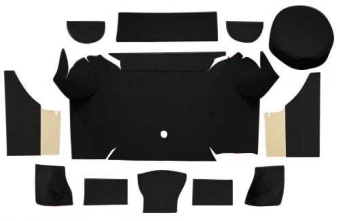 OER 1967-68 Mustang Convertible Nylon Loop Trunk Carpet Set with Boards - Black A4079A01