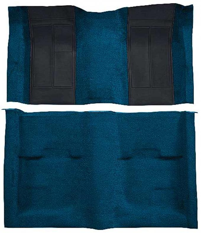OER 1970 Mustang Mach 1 Nylon Passenger Area Carpet - Dark Blue with Black Inserts A4107A12