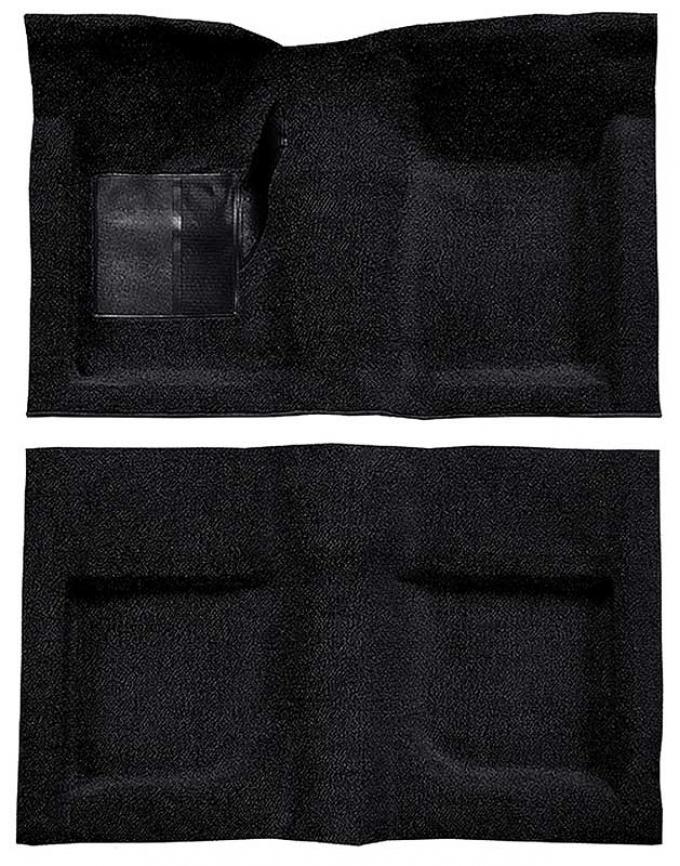 OER 1965-68 Mustang Convertible Passenger Area Nylon Loop Floor Carpet Set - Black A4047A01
