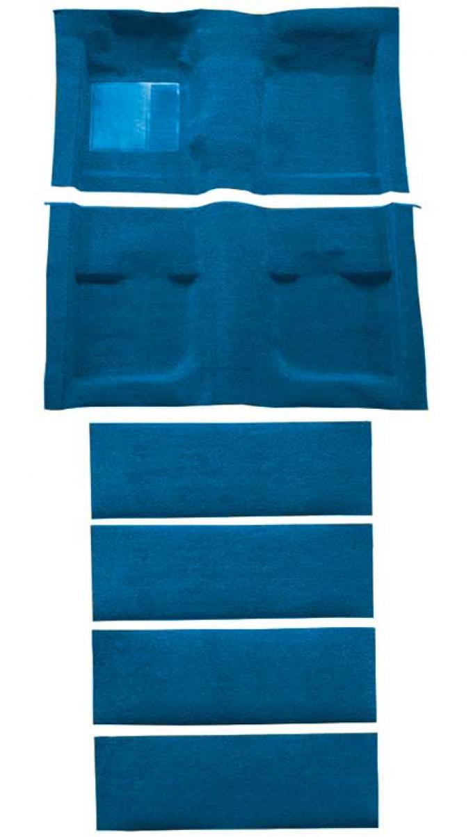 OER 1971-73 Mustang Coupe/Fastback Nylon Loop Floor Carpet with Fold Downs - Medium Blue A4061A41