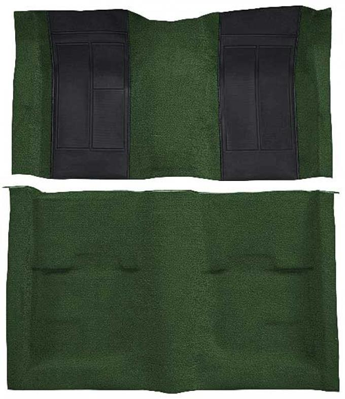 OER 1970 Mustang Mach 1 Nylon Floor Carpet with Mass Backing - Green with Black Inserts A4107B39