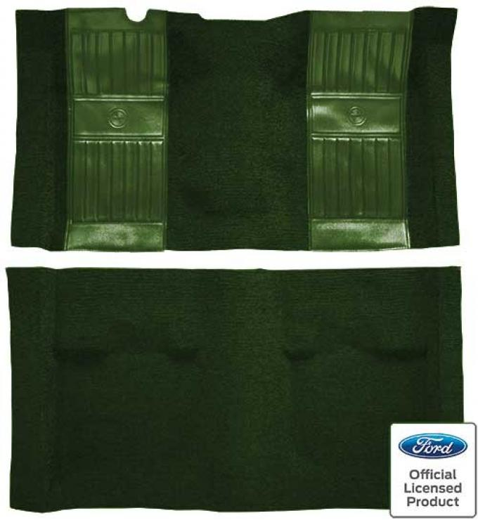 OER 1969 Mustang Mach 1 Nylon Floor Carpet with Mass Backing - Green with Green Inserts A4105B39