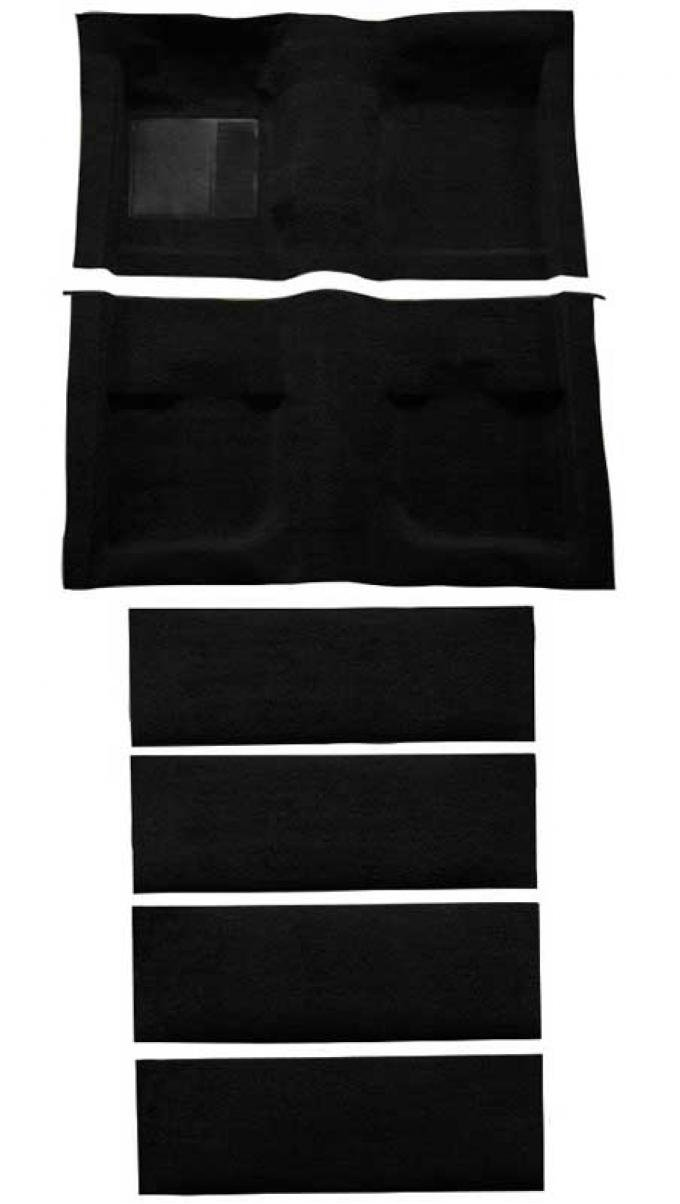 OER 1971-73 Mustang Coupe/Fastback Nylon Loop Floor Carpet with Fold Downs - Black A4061A01