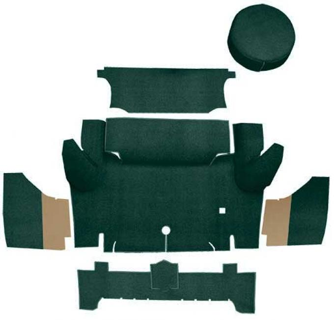 OER 1965-66 Mustang Coupe Loop Trunk Carpet Set with Boards - Dark Green A4046A13