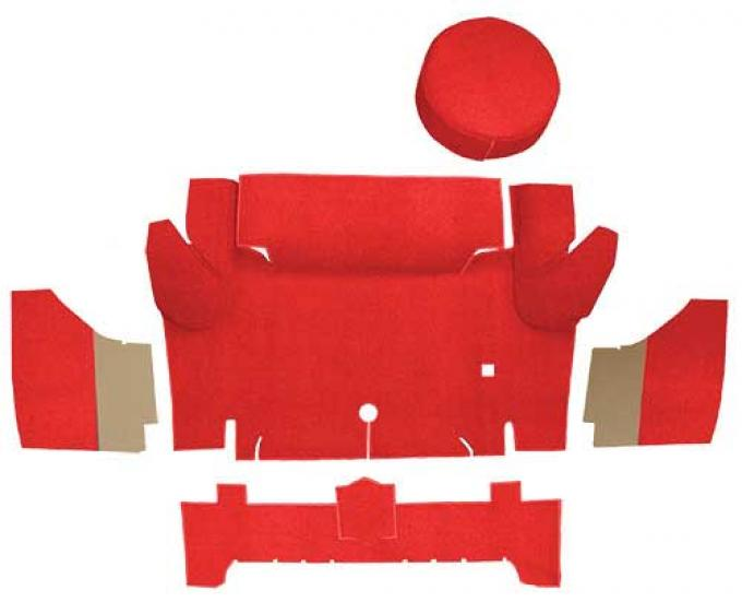 OER 1965-66 Mustang Convertible Nylon Loop Trunk Carpet Set with Boards - Red A4067A02