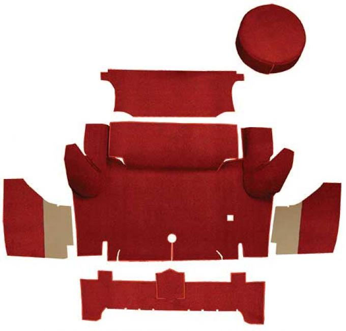 OER 1965-66 Mustang Coupe Nylon Loop Trunk Carpet Set with Boards - Red A4063A02