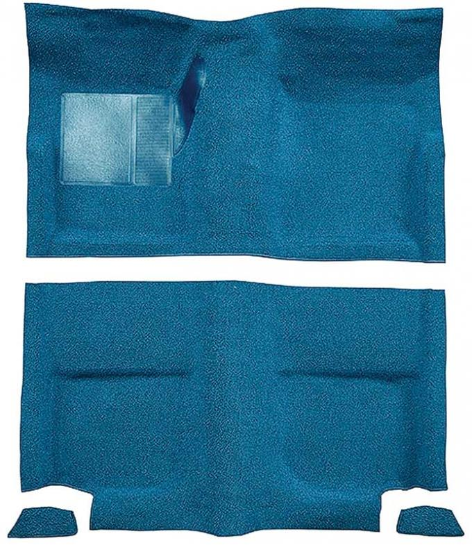 OER 1965-68 Mustang Fastback Passenger Area Nylon Loop Floor Carpet without Fold Downs - Light Blue A4049A31