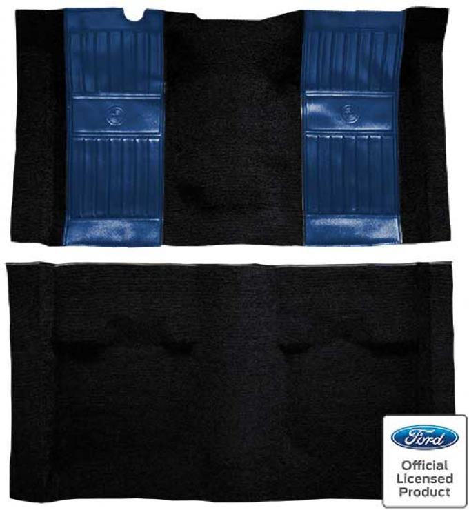 OER 1971-73 Mustang Mach 1 Nylon Floor Carpet with Mass Backing - Black with Dark Blue Pony Inserts A4117B12