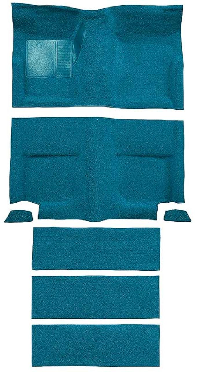 OER 1965-68 Mustang Fastback Nylon Loop Floor Carpet with Fold Downs - Aqua A4099A06