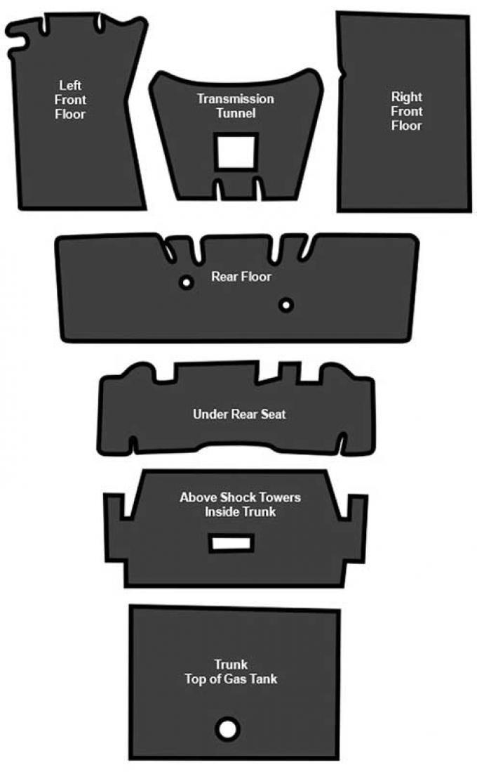 OER 1964-73 Mustang Fastback Sound Deadener 7 Piece EVA A4125A00