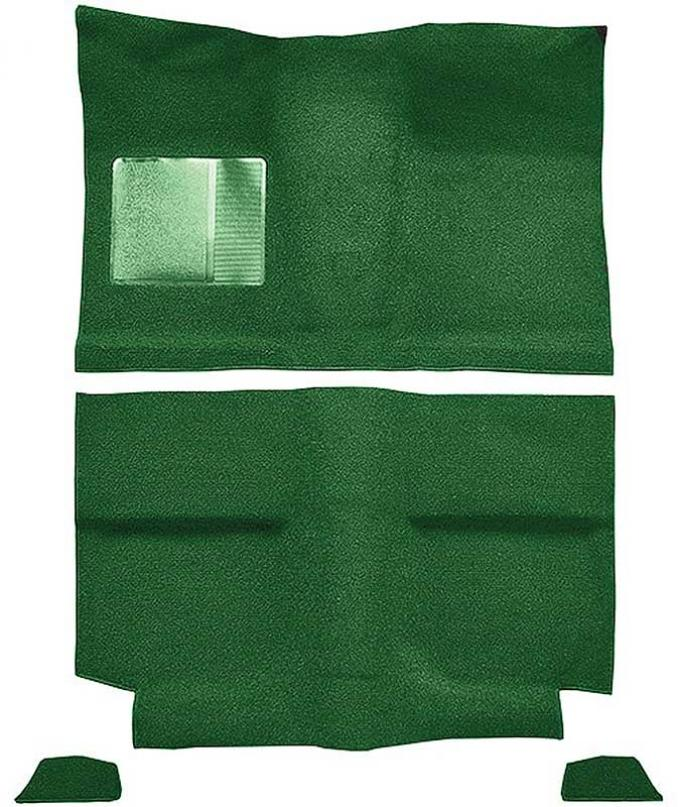 OER 1964 Mustang Fastback w/o Folddowns Nylon Loop Floor Carpet with Mass Backing - Green A4035B39