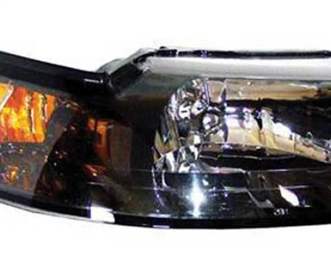 OER 1999-04 Mustang Headlight with Clear Lens, Black Housing and Amber Reflector- Pair 94L084